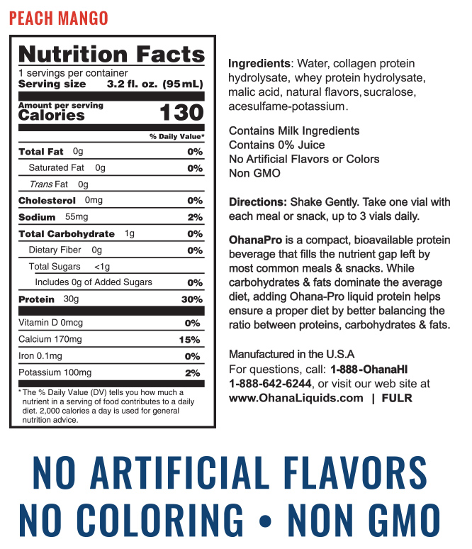 Ohana Liquids Protein - Peach Mango Nutrition Facts